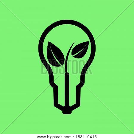 plant in lightbulb icon vector isolated on green background .