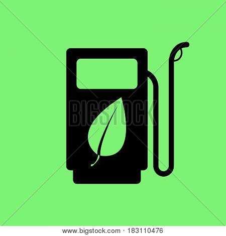 Gas station with leaf icon vector. Gas station with leaf pictograph