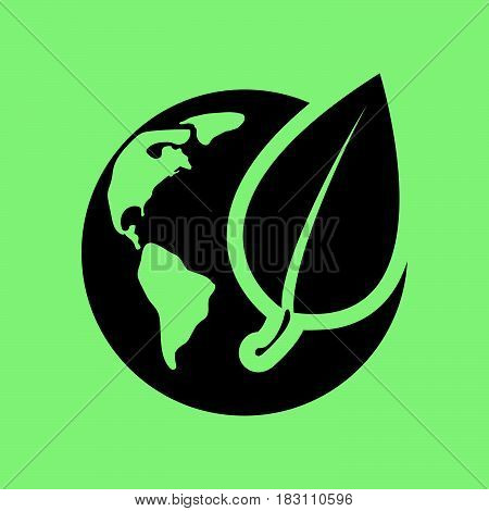 eco globe icon. Flat web icon or sign isolated on green background. Collection modern trend concept design style vector illustration symbol