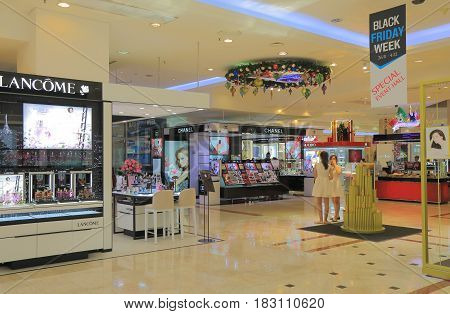 HO CHI MINH CITY VIETNAM - NOVEMBER 26, 2016: Unidentified people visit Diamond Plaza. Diamond Plaza is a luxurious shopping center in downtown District 1.