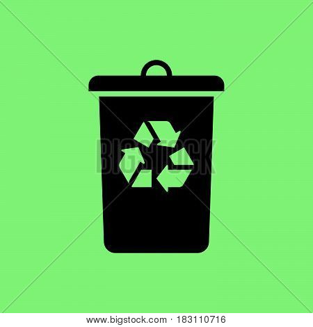 recycle bin icon vector isolated on green background .
