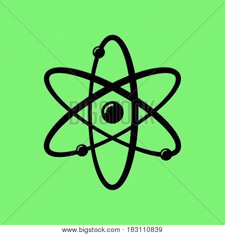 atom icon vector isolated on green background .
