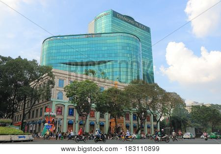 HO CHI MINH CITY VIETNAM - NOVEMBER 26, 2016: Unidentified people visit Diamond Plaza. Diamond Plaza s a luxurious shopping center in downtown District 1
