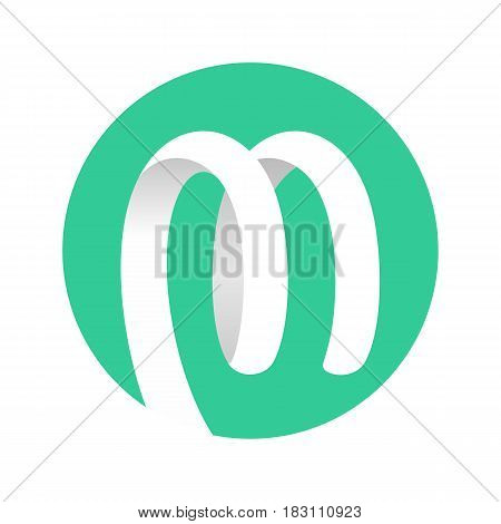 Abstract Shape Spiral Ribbon Logo in circle mint green color. Vector illustration