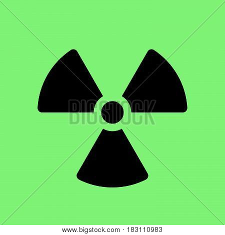 radiation symbol icon isolated on green .