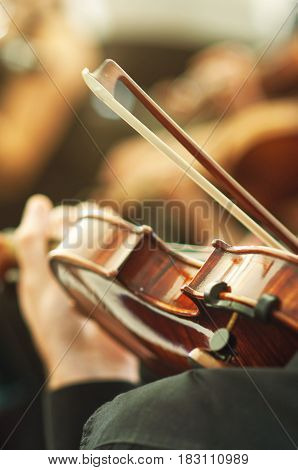 Member of classical music orchestra playing violin on a concert unrecognizable musician with string instrument selective focus
