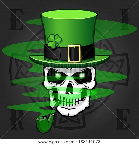 Comic St. Patrick's day design. Skull smoking pipe with hat and a Celtic Cross behind. Isolated against background. Vector illustration.
