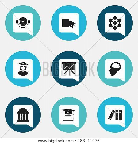 Set Of 9 Editable Graduation Icons. Includes Symbols Such As Cerebrum, Courtroom, Bookshelf And More. Can Be Used For Web, Mobile, UI And Infographic Design.