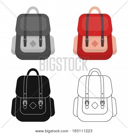 Hipster backpack icon in cartoon design isolated on white background. Hipster style symbol stock vector illustration.