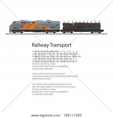 Poster Locomotive with Railway Platform for Timber Transportation, Train Isolated on White Background and Text ,Rail Freight Overland Transport ,Vector Illustration