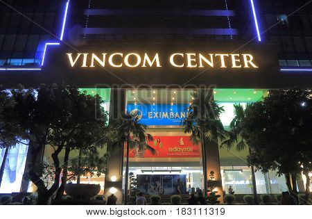 HO CHI MINH CITY VIETNAM - NOVEMBER 26, 2016: Unidentified people visit Vincom Center department store. Vincom Center is a luxurious shopping center in downtown District 1.
