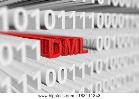 DML in the form of a binary code with blurred background 3D illustration