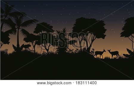 Collection stock jungle scenery of silhouette vector art