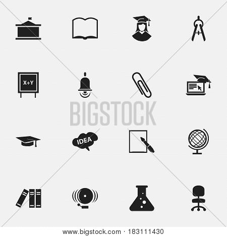 Set Of 16 Editable Graduation Icons. Includes Symbols Such As Mind, Math Tool, Book And More. Can Be Used For Web, Mobile, UI And Infographic Design.