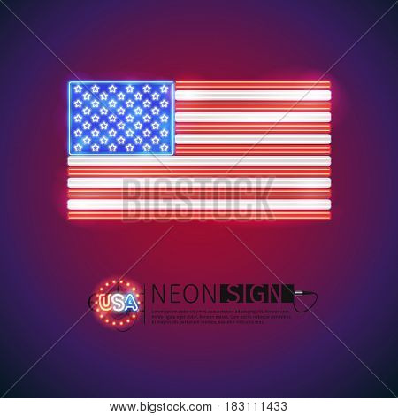 USA flag neon signs makes it quick and easy to customize your patriotic project. Used neon vector brushes included.
