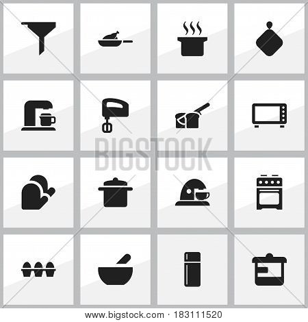 Set Of 16 Editable Cooking Icons. Includes Symbols Such As Drink Maker, Cookware, Filtering And More. Can Be Used For Web, Mobile, UI And Infographic Design.