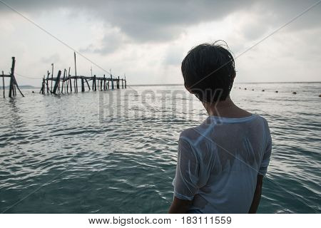 Women standing in the sea. Happy freedom for success and bliss concept.