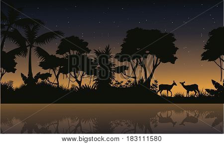 Deer scene on the jungle silhouettes vector art