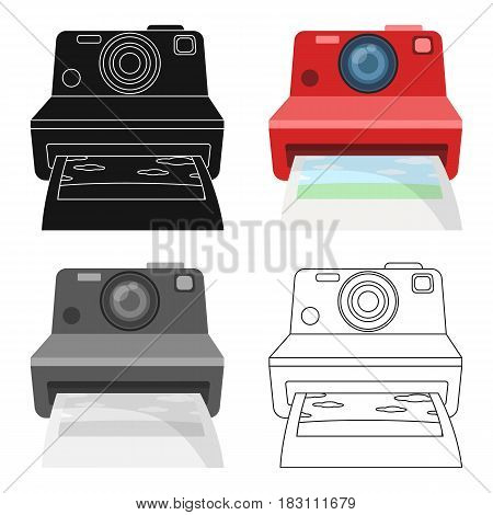 Retro photocamera icon in cartoon design isolated on white background. Hipster style symbol stock vector illustration.