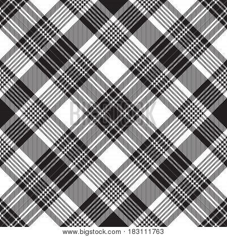 Black check diagonal plaid seamless pattern. Vector illustration.