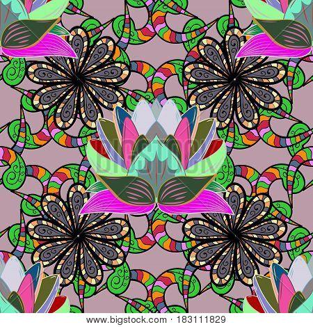 Colored mandala on colorful background. Rich ethnic striped seamless pattern geometric design. Mandala style. Vector illustration.