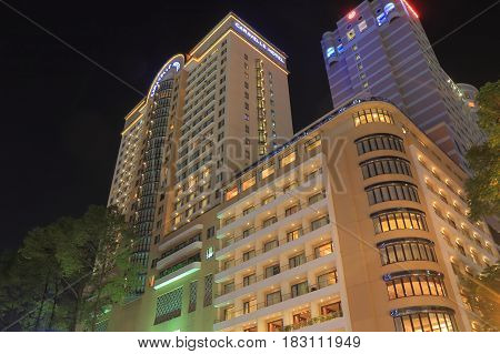 HO CHI MINH CITY VIETNAM - NOVEMBER 26, 2016: Caravelle Hotel Dong Khoi street. Caravelle Hotel is one of the most luxurious hotel in Ho Chi Minh City.