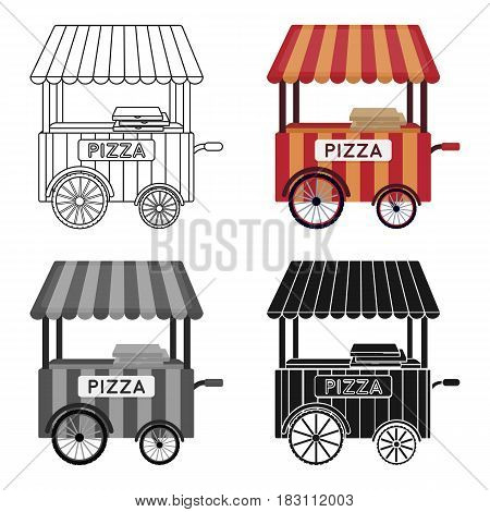 Pizza cart icon in cartoon style isolated on white background. Pizza and pizzeria symbol vector illustration.