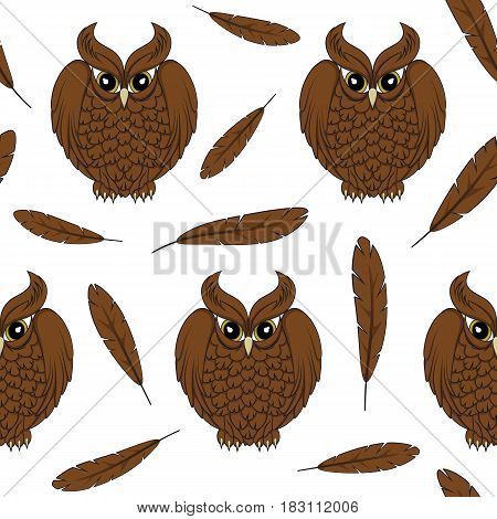 Vector seamless pattern with owls and feathers