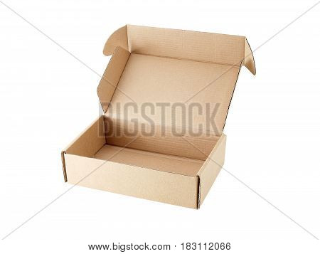 empty carton box open isolated on white background, for postal delivery