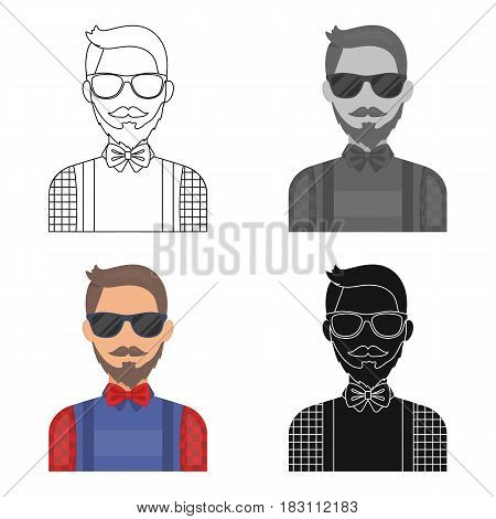 Hipster icon in cartoon design isolated on white background. Hipster style symbol stock vector illustration.