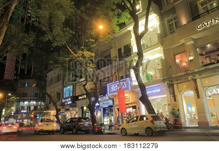 HO CHI MINH CITY VIETNAM - NOVEMBER 26, 2016: Unidentified people visit Dong Khoi street. Dong Khoi street is a main shopping district with many boutiques in Saigon.