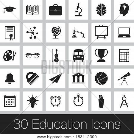 education icons set isolated on white .