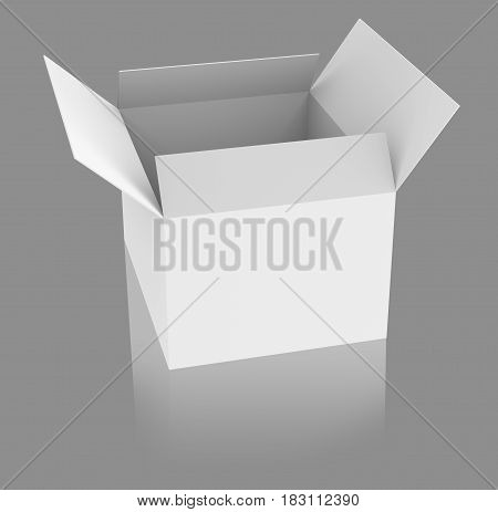 Blank opened white box with reflection over gray background. 3d rendering.