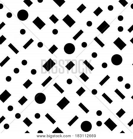 Black and white simple geometric shapes seamless pattern, vector background