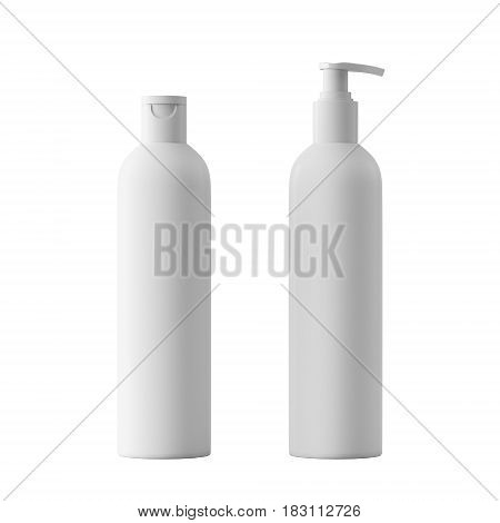 Blank white cosmetic bottle, isolated on white background, 3D rendering. Dispenser for cream, soups, foams and other cosmetics.