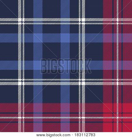 Blue diagonal fabric texture plaid seamless pattern. Vector illustration.