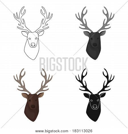 Deer head icon in cartoon design isolated on white background. Hipster style symbol stock vector illustration.