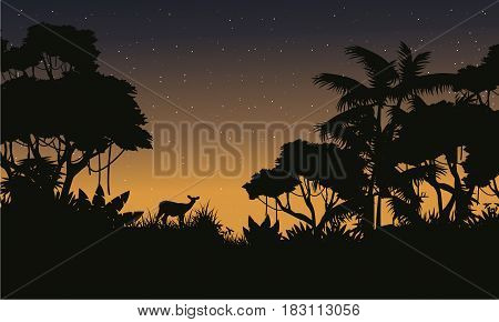 Collection stock of jungle silhouette style vector illustration