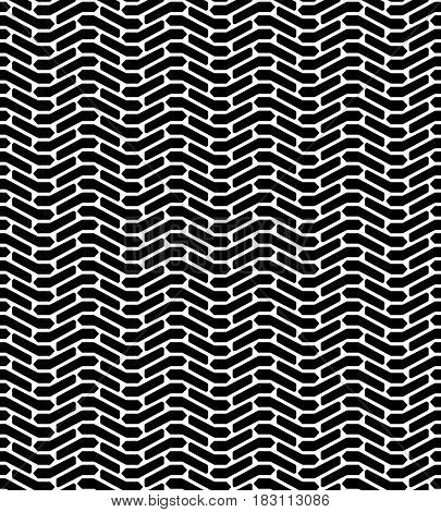 Black and white tire tread protector track abstract geo seamless pattern, vector background