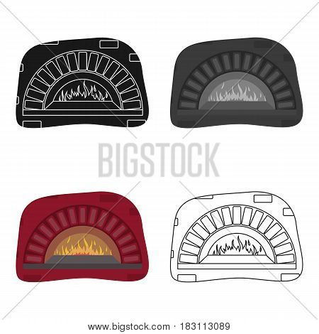 Wood-fired oven icon in cartoon style isolated on white background. Pizza and pizzeria symbol vector illustration.