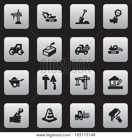 Set Of 16 Editable Construction Icons. Includes Symbols Such As Construction Tools, Scrub, Caterpillar And More. Can Be Used For Web, Mobile, UI And Infographic Design.