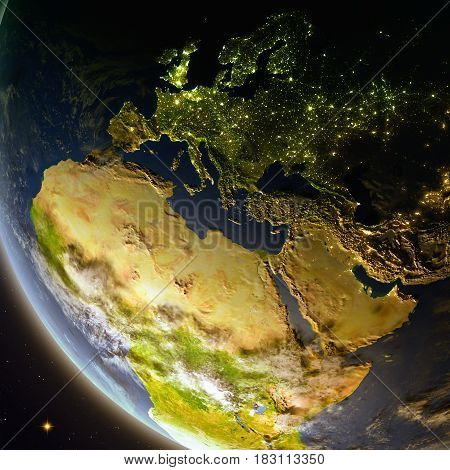Emea Region From Space During Dusk
