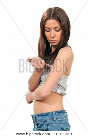 Diabetes Dependent Woman Making Human Insulin Shot
