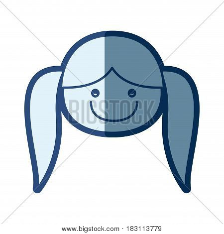 blue silhouette of caricature front face girl with pigtails hair vector illustration