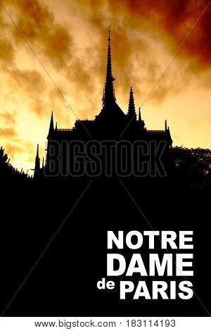 Black silhouette of Notre Dame de Paris with space for your own text