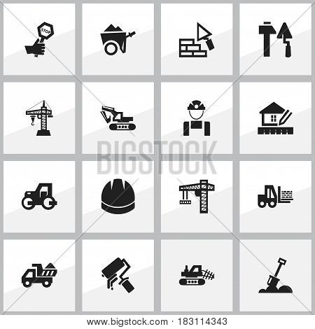 Set Of 16 Editable Construction Icons. Includes Symbols Such As Oar ,  Lifting Equipment, Handcart. Can Be Used For Web, Mobile, UI And Infographic Design.