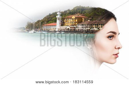 Double exposure of beautiful young woman and resort harbor over white background