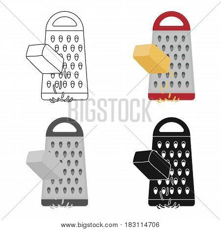 Grating cheese icon in cartoon style isolated on white background. Pizza and pizzeria symbol vector illustration.