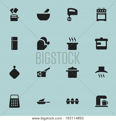 Set Of 16 Editable Cooking Icons. Includes Symbols Such As Shredder, Drink Maker, Soup And More. Can Be Used For Web, Mobile, UI And Infographic Design.