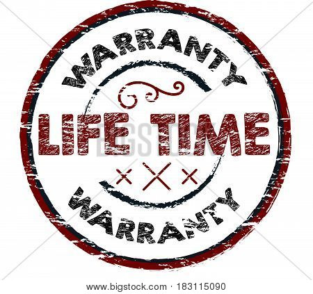 lifetime warranty label icon vector vintage background